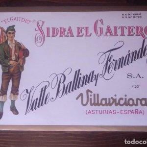 Sidra El Gaitero. Etiqueta gigante 22,15x15,3cm Valle Ballina y Fernández Villaciciosa. Asturias.