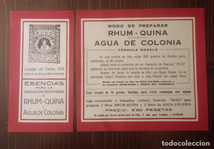 RHUM - QUINA. AGUA DE COLONIA. MODO DE PREPARAR. IMPECABLES (Coleccionismo - Etiquetas)
