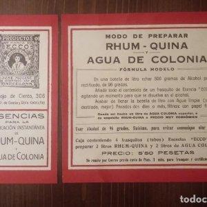 RHUM - QUINA. Agua de colonia. Modo de preparar. Impecables