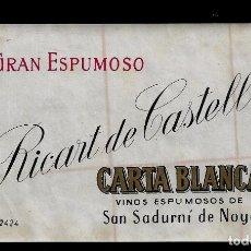 Etiquetas antiguas: ETIQUETA - GRAN ESPUMOSO RICART DE CASTELLS - CARTA BLANCA - SAN SADURNI DE NOYA. Lote 164763146