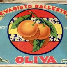 Etiquetas antiguas: ETIQUETA NARANJA-OLIVA - EVARISTO BALLESTER.-265 X 190 MM-. Lote 165012738