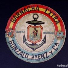 Etiquetas antiguas: GARNACHA EXTRA EL CANO. GONZALEZ SAENZ Y CIA, BUENOS AIRES. Lote 165226822