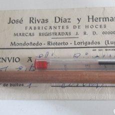 Etiquetas antiguas: MONDOÑEDO RIOTORTO LUGO FABRICANTES DE HOCES J.R.D. Lote 165355534