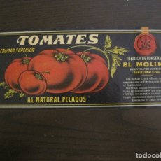 Etiquetas antiguas: ETIQUETA ANTIGUA-TOMATES-FABRICA DE CONSERVAS-EL MOLINO-HOSPITALET DE LLOBREGAT-VER FOTOS-(V-17.101). Lote 165390478