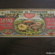 Etiquetas antiguas: ETIQUETA ANTIGUA-ROVELLONS CATALUNYA-FABRICA DE CONSERVAS-JAIME BULTA-GRANOLLERS-VER FOTOS(V-17.102). Lote 165390690