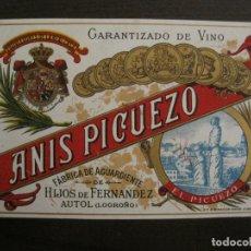 Etiquetas antiguas: ETIQUETA ANTIGUA-ANIS PICUEZO-AUTOL-LOGROÑO-VER FOTOS(V-17.107). Lote 165391486