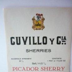 Etiquetas antiguas: ETIQUETA CUVILLO Y CIA. SHERRIES. Lote 165759746