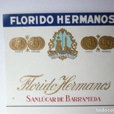 Etiquetas antiguas: ETIQUETA FLORIDO HERMANOS. Lote 165764830