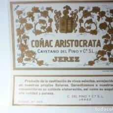 Etiquetas antiguas: ETIQUETA COÑAC ARISTOCRATA. Lote 165765174