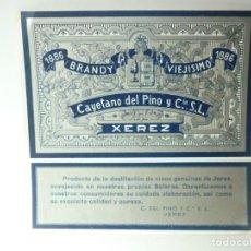 Etiquetas antiguas: ETIQUETA 1886 BRANDY VIEJISIMO. CAYETANO DEL PINO Y CIA. Lote 165766022