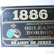 Etiquetas antiguas: ETIQUETA 1886 BRANDY DE JEREZ. BODEGA DE LOS INFANTES ORLEANS BORBON. Lote 165766486
