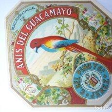 Etiquetas antiguas: ETIQUETA ANIS DEL GUACAMAYO. Lote 165767370