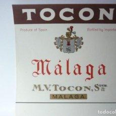 Etiquetas antiguas: ETIQUETA TOCON. MALAGA. Lote 165769042