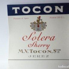 Etiquetas antiguas: ETIQUETA TOCON. SOLERA SHERRY. Lote 165769142