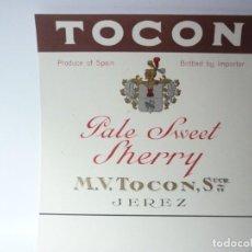 Etiquetas antiguas: ETIQUETA TOCON. PALE SWEET SHERRY. Lote 165769282