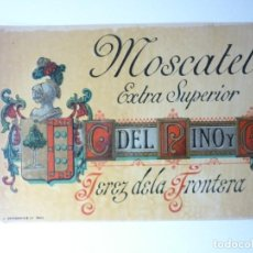 Etiquetas antiguas: ETIQUETA CAYETANO DEL PINO. MOSCATEL EXTRA SUPERIOR.JEREZ. Lote 165814702