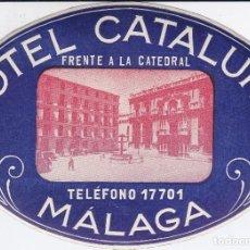 Etichette antiche: ANTIGUA ETIQUETA DEL HOTEL CATALUÑA DE MALAGA. Lote 165955898