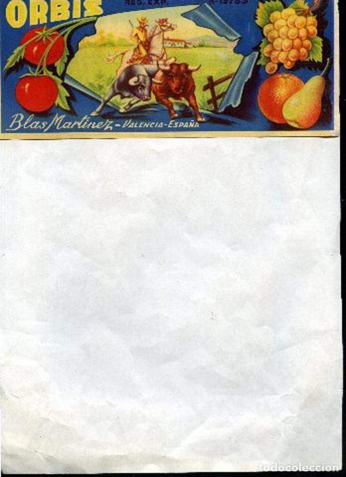 NARANJAS ORBIS DE BLAS MARTINEZ , VALENCIA, 21X 9 CM (Coleccionismo - Etiquetas)