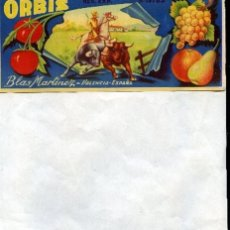Etiquetas antiguas: NARANJAS ORBIS DE BLAS MARTINEZ , VALENCIA, 21X 9 CM. Lote 194737466