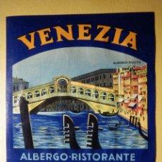 Etiquetas antiguas: ETIQUETA HOTEL PARA MALETA - BAGGAGE LABEL - ALBERGO RIALTO - VENEZIA - ITALIA - 13 X 10,5 CM. Lote 166217798