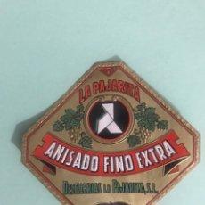 Etiquetas antiguas: ANTIGUA ETIQUETA ANISADO FINO EXTRA DESTILERIA LA PAJARITA MADRID. Lote 166340232