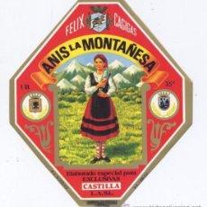 Etiquetas antiguas: ETIQUETA *ANIS LA MONTAÑESA* - FELIX CAGIGAS - ELABORACION ESPECIAL PARA EXCLUSIVAS CASTILLA. Lote 166361093