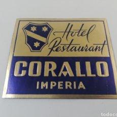 Etiquetas antiguas: ETIQUETA HOTEL RESTAURANT CORALLO ,IMPERIA ITALIA, LUGGAGE LABEL.. Lote 166550164