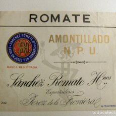 Etiquetas antiguas: ETIQUETA DE SANCHEZ ROMATE AMONTILLADO NON PLUS ULTRA SIN PEGAR. Lote 167119624