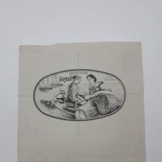 Etiquetas antiguas: PESCADOS VARGA. BOCETO PARA PUBLICIDAD. Lote 167556958