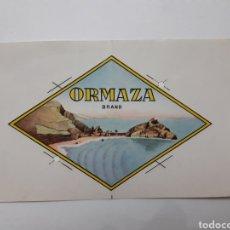 Etiquetas antiguas: ORMAZA BRAND. BERMEO (VIZCAYA). Lote 168642717