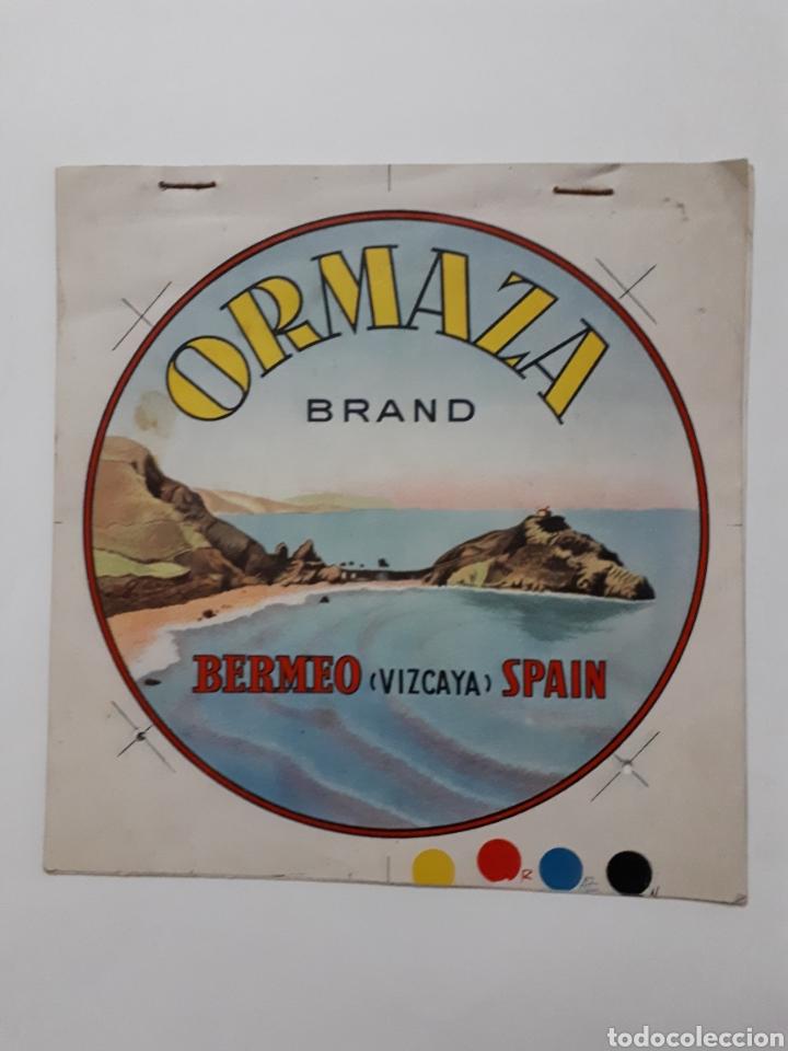 ORMAZA BRAND BERMEO (VIZCAYA) SPAIN. CUADERNILLO CON SIETE PRUEBAS DE COLOR (Coleccionismo - Etiquetas)