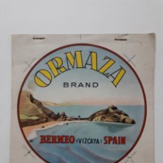 Etiquetas antiguas: ORMAZA BRAND BERMEO (VIZCAYA) SPAIN. CUADERNILLO CON SIETE PRUEBAS DE COLOR. Lote 168643705