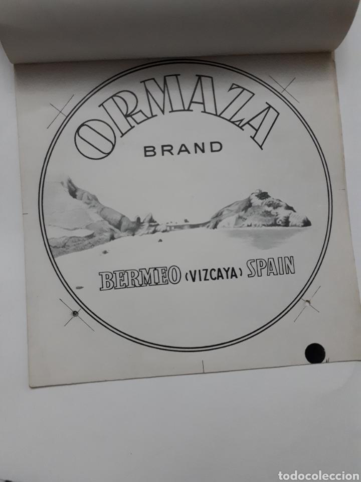 Etiquetas antiguas: ORMAZA brand BERMEO (Vizcaya) SPAIN. Cuadernillo con siete pruebas de color - Foto 2 - 168643705