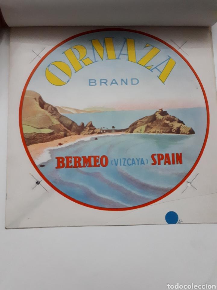 Etiquetas antiguas: ORMAZA brand BERMEO (Vizcaya) SPAIN. Cuadernillo con siete pruebas de color - Foto 3 - 168643705