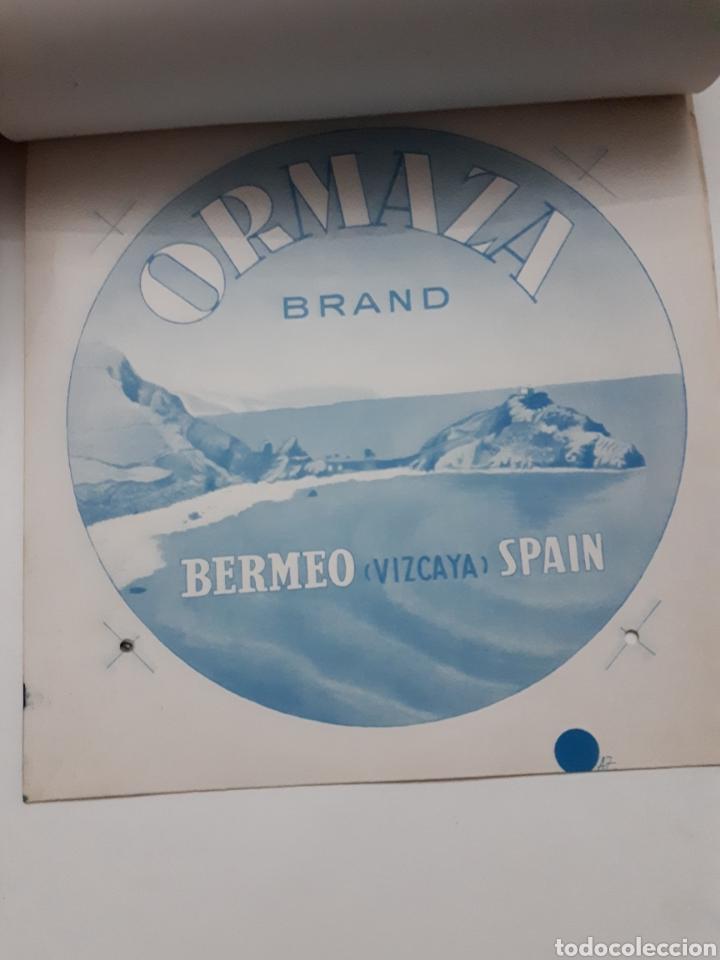 Etiquetas antiguas: ORMAZA brand BERMEO (Vizcaya) SPAIN. Cuadernillo con siete pruebas de color - Foto 4 - 168643705