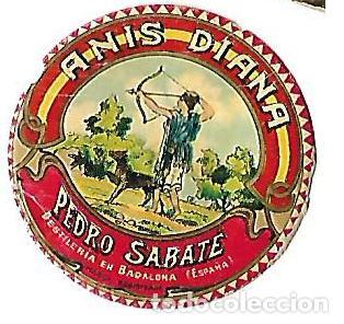 MINI ETIQUETA AÑOS 30 ** ANIS DIANA -PEDRO SABATE - DESTILERIAS EN BADALONA ( ESPAÑA) (Coleccionismo - Etiquetas)