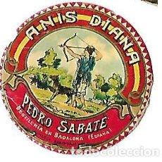 Etiquetas antiguas: MINI ETIQUETA AÑOS 30 ** ANIS DIANA -PEDRO SABATE - DESTILERIAS EN BADALONA ( ESPAÑA). Lote 194228972