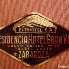 Etiquetas antigas: ETIQUETA HOTEL - RESIDENCIA HOTEL GRAN VIA - ZARAGOZA. Lote 191743780