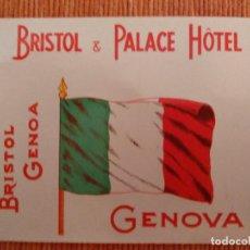 Etiquetas antiguas: ETIQUETA HOTEL BRISTOL PALACE HOTEL, GENOVA. Lote 236465970