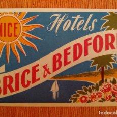 Etiquetas antiguas: NICE. HOTELS BRICE & BEDFORD. HOTEL. Lote 236465790