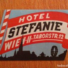 Etiquetas antiguas: ETIQUETA DE HOTEL - HOTEL STEFANIE - WIEN - AUSTRIA. Lote 236466030