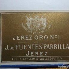 Etiquetas antiguas: ETIQUETA DE UNA BODEGA DE JEREZ FRA. ANTIGUA.. Lote 170139778