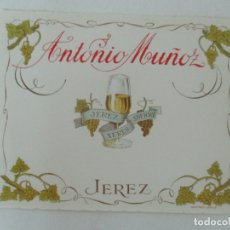 Etiquetas antiguas: ETIQUETA ANTONIO MUÑOZ, JEREZ . Lote 170190356