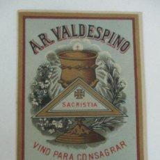 Etiquetas antiguas: ETIQUETA A.R. VALDESPINO - VINO PARA CONSAGRAR, SACRISTIA - JEREZ. Lote 170190672