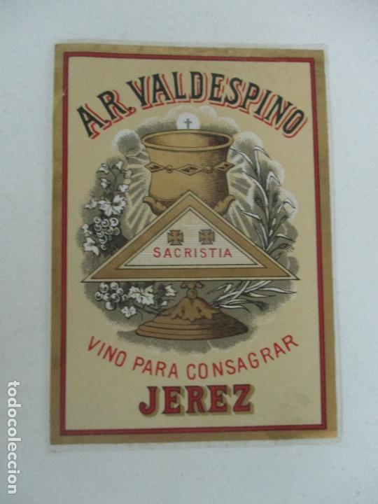 Etiquetas antiguas: Etiqueta A.R. Valdespino - Vino para Consagrar, Sacristia - Jerez - Foto 3 - 170190732