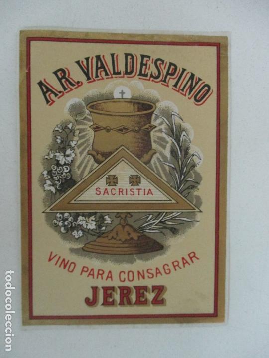 ETIQUETA A.R. VALDESPINO - VINO PARA CONSAGRAR, SACRISTIA - JEREZ (Coleccionismo - Etiquetas)