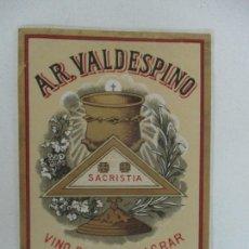 Etiquetas antiguas: ETIQUETA A.R. VALDESPINO - VINO PARA CONSAGRAR, SACRISTIA - JEREZ. Lote 170190732
