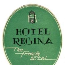 Etiquetas antiguas: CUBA HABANA HOTEL REGINA ETIQUETA 9,5 X11,5 CMS APROX AÑOS 50. Lote 170910970