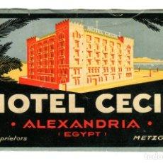 Etiquetas antiguas: EGIPTO ALEXANDRIA HOTEL CECIL ETIQUETA 12 X 7 CMS. APROX AÑOS 50. Lote 170985517