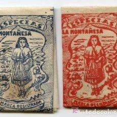 Etiquetas antiguas: DOS SOBRES DE PAPEL DE ESPECIAS LA MONTAÑESA, DE MOLINA DE SEGURA, MURCIA, CON CANELA. COCINA.. Lote 190405885